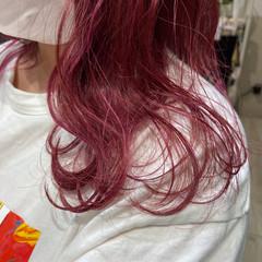 ベリーピンク ラズベリーピンク ピンクアッシュ ピンクバイオレット ヘアスタイルや髪型の写真・画像