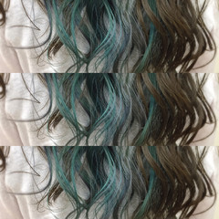 カラフルカラー インナーカラー ヘアマニキュア ハイトーン ヘアスタイルや髪型の写真・画像