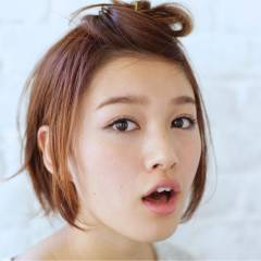 ショート フェミニン ヘアアレンジ 卵型 ヘアスタイルや髪型の写真・画像