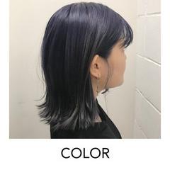 切りっぱなしボブ ネイビーブルー ナチュラル 似合わせカット ヘアスタイルや髪型の写真・画像