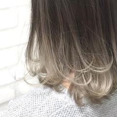 アッシュ グラデーションカラー 外国人風 ボブ ヘアスタイルや髪型の写真・画像