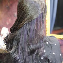 外国人風カラー セミロング バイオレット ハイライト ヘアスタイルや髪型の写真・画像