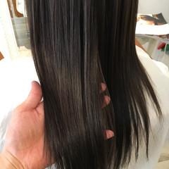 ナチュラル 縮毛矯正 セミロング パーマ ヘアスタイルや髪型の写真・画像