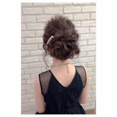 セミロング ガーリー 結婚式 夏 ヘアスタイルや髪型の写真・画像