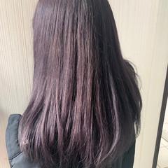 ピンクブラウン アンニュイほつれヘア 切りっぱなしボブ ラベンダーピンク ヘアスタイルや髪型の写真・画像