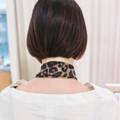 ハイライト ナチュラル ミニボブ 黒髪 ヘアスタイルや髪型の写真・画像