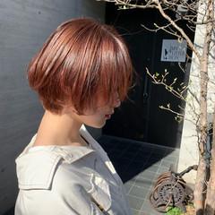 ハイライト ピンク ショート ピンクベージュ ヘアスタイルや髪型の写真・画像