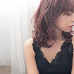 エレガント 上品 レイヤーカット ピンク ヘアスタイルや髪型の写真・画像