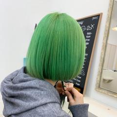 切りっぱなしボブ ダブルカラー ミニボブ 透明感 ヘアスタイルや髪型の写真・画像