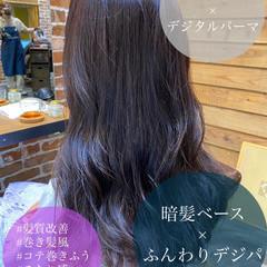 ハイライト イルミナカラー ロングヘア グレージュ ヘアスタイルや髪型の写真・画像
