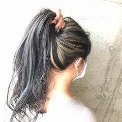 ブリーチカラー ロング コントラストハイライト バレイヤージュ ヘアスタイルや髪型の写真・画像