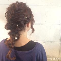 大人かわいい セミロング ヘアアレンジ 編み込み ヘアスタイルや髪型の写真・画像