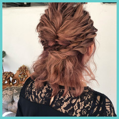 ボブ ナチュラル 結婚式 簡単ヘアアレンジ ヘアスタイルや髪型の写真・画像
