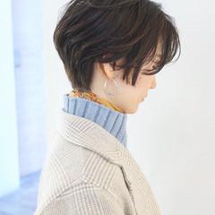 ダークアッシュ ナチュラル ダークグレー ハンサムショート ヘアスタイルや髪型の写真・画像