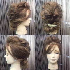 結婚式 波ウェーブ くるりんぱ セミロング ヘアスタイルや髪型の写真・画像