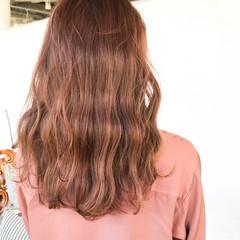 オレンジブラウン アプリコットオレンジ ロング オレンジカラー ヘアスタイルや髪型の写真・画像