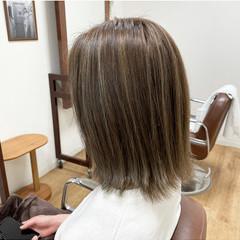 かき上げ前髪 ハイライト 外ハネ ボブ ヘアスタイルや髪型の写真・画像