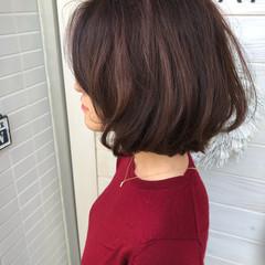 ウェーブ デジタルパーマ ワンレングス ボブ ヘアスタイルや髪型の写真・画像