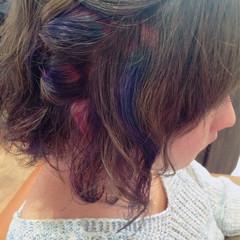 パープル メッシュ グレージュ セミロング ヘアスタイルや髪型の写真・画像