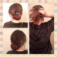 大人かわいい 簡単ヘアアレンジ ギブソンタック ヘアアレンジ ヘアスタイルや髪型の写真・画像