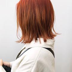 外ハネ オレンジ オレンジベージュ ボブ ヘアスタイルや髪型の写真・画像