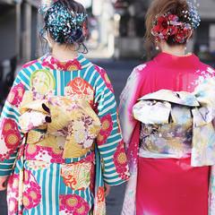 成人式 成人式カラー 着物 成人式ヘアメイク着付け ヘアスタイルや髪型の写真・画像