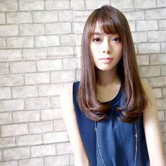 暗髪 パーマ フェミニン ストレート ヘアスタイルや髪型の写真・画像