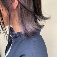 パープルカラー シルバー インナーカラー ボブ ヘアスタイルや髪型の写真・画像