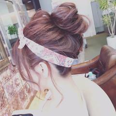 ボブ ヘアアレンジ ナチュラル ベリーピンク ヘアスタイルや髪型の写真・画像
