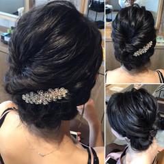 セミロング 上品 エレガント 結婚式 ヘアスタイルや髪型の写真・画像