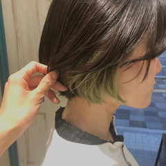 ボブ インナーカラー ショートボブ アッシュ ヘアスタイルや髪型の写真・画像