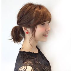 ナチュラル 簡単ヘアアレンジ ヘアアレンジ フリンジバング ヘアスタイルや髪型の写真・画像