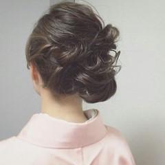 編み込み 着物 暗髪 和装 ヘアスタイルや髪型の写真・画像