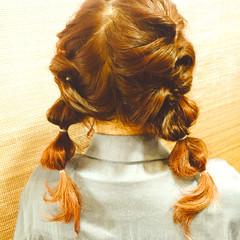 セミロング くるりんぱ ヘアアレンジ グラデーションカラー ヘアスタイルや髪型の写真・画像