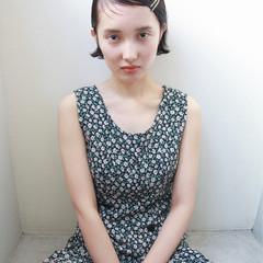 暗髪 ヘアアレンジ 外ハネ ショート ヘアスタイルや髪型の写真・画像