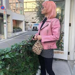 前髪 ピンクアッシュ ストリート ボブ ヘアスタイルや髪型の写真・画像