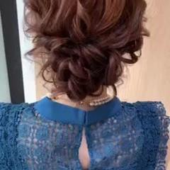ナチュラル セミロング ゆるふわセット お呼ばれヘア ヘアスタイルや髪型の写真・画像