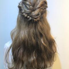 ロング ハーフアップ ガーリー ヘアアレンジ ヘアスタイルや髪型の写真・画像