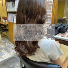 韓国風ヘアー ナチュラル 無造作パーマ コテ巻き風パーマ ヘアスタイルや髪型の写真・画像