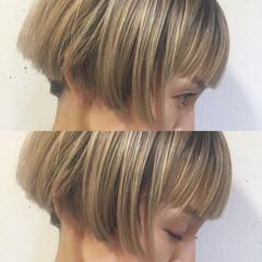 ボブ ハイライト グラデーションカラー 前髪あり ヘアスタイルや髪型の写真・画像