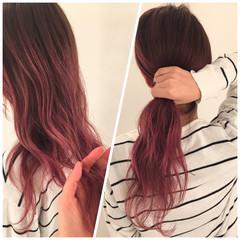 ピンク グラデーションカラー ポニーテール 秋 ヘアスタイルや髪型の写真・画像