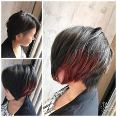 グレージュ モード ショート 秋 ヘアスタイルや髪型の写真・画像