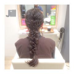 波ウェーブ ヘアアレンジ 三つ編み 編み込み ヘアスタイルや髪型の写真・画像