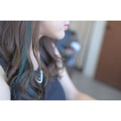 インナーカラー ダブルカラー セミロング 透明感 ヘアスタイルや髪型の写真・画像