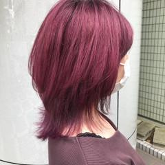 ダブルカラー ガーリー ピンクバイオレット ウルフカット ヘアスタイルや髪型の写真・画像