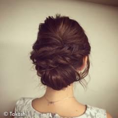 アップスタイル コンサバ モテ髪 ロープ編み ヘアスタイルや髪型の写真・画像