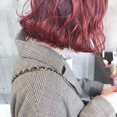 ナチュラル カシスレッド ボブ ヘアアレンジ ヘアスタイルや髪型の写真・画像