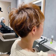 毛先パーマ 小顔ショート ショート ナチュラル ヘアスタイルや髪型の写真・画像