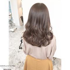 大人かわいい 暗髪 セミロング アッシュ ヘアスタイルや髪型の写真・画像