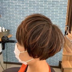 マッシュショート 大人ハイライト ショートボブ ショート ヘアスタイルや髪型の写真・画像